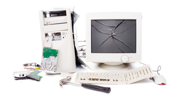 Destroyed computer